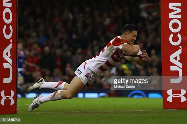 Akihito Yamada of Japan scores his sides opening try during the International match between Wales and Japan at the Principality Stadium on November...