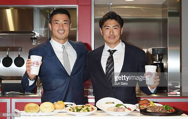 Akihito Yamada of the Sun Wolves and football player Takashi Kurihara attend the opening event for DNS Power Cafe at Otemachi Financial City Grand...