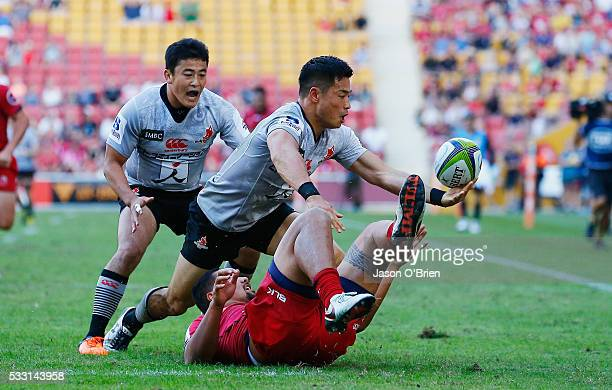 Akihito Yamada of the sunwolves in action during the round 13 Super Rugby match between the Reds and the Sunwolves at Suncorp Stadium on May 21 2016...