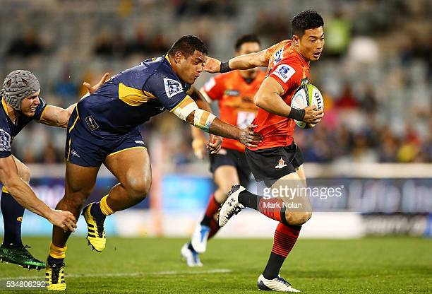 Akihito Yamada of the Sunwolves makes a line break during the round 14 Super Rugby match between the Brumbies and the Sunwolves at GIO Stadium on May...