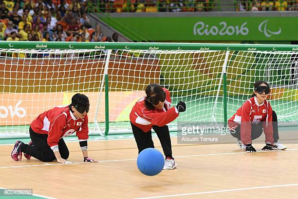 Akiko Adachi of Japan throws the ball in the women's Goalball on day 4 of the Rio 2016 Paralympic Games at Future Arena on September 11 2016 in Rio...