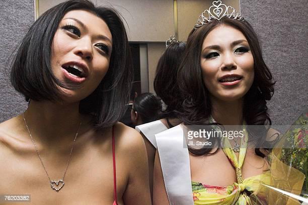 Akiko Chubachi Miss Universe Japan 2007 2nd runner up and Riyo Mori Winner of 2007 Miss Universe Japan