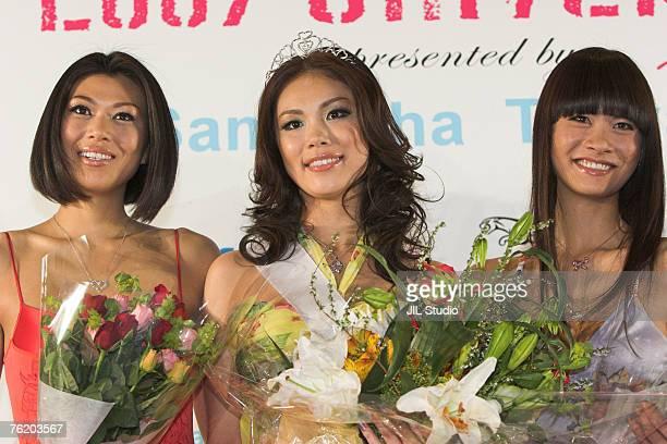 Akiko Chubachi Miss Universe Japan 2007 2nd runner up Riyo Mori Miss Universe Japan 2007 and Rei Hamada Miss Universe Japan 2007 1st runner up
