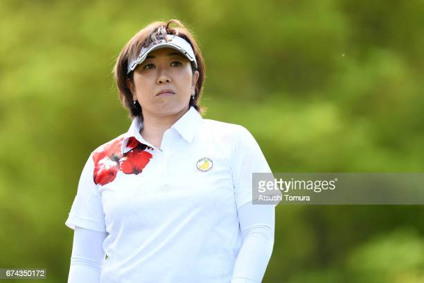 Akiko Fukushima of Japan looks on during the first round of the CyberAgent Ladies Golf Tournament at the Grand Fields Country Club on April 28 2017...