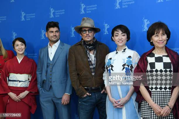 Akiko Iwase director Andrew Levitas Johnny Depp Minami and Aileen Mioko Smith attend the Minamata photo call during the 70th Berlinale International...