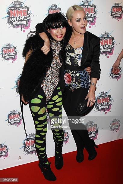 Akiko Matsuura and Jaime Winstone arrive at the Shockwaves NME Awards 2010 held at Brixton Academy on February 24 2010 in London England