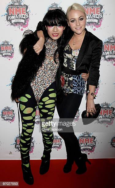 Akiko Matsuura and Jaime Winstone arrives at the Shockwaves NME Awards 2010 at Brixton Academy on February 24 2010 in London England