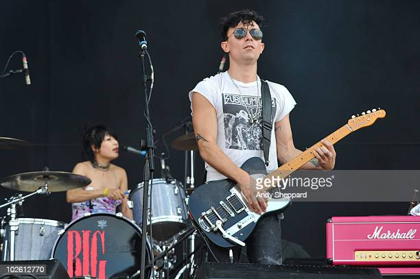 Akiko Matsuura and Robbie Furze of The Big Pink perform on stage during the second day of Wireless Festival 2010 in Hyde Park on July 3 2010 in...