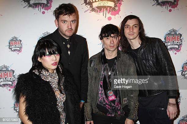 Akiko Matsuura Milo Cordell Robbie Furze and Leopold Ross of The Big Pink arrive at the Shockwaves NME Awards 2010 held at Brixton Academy on...