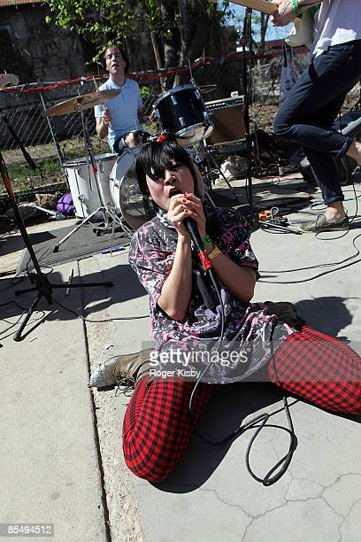 Akiko Matsuura of PRE performs onstage at the Todd P showcase at Ms Beas as part of SXSW 2009 on March 19 2009 in Austin Texas