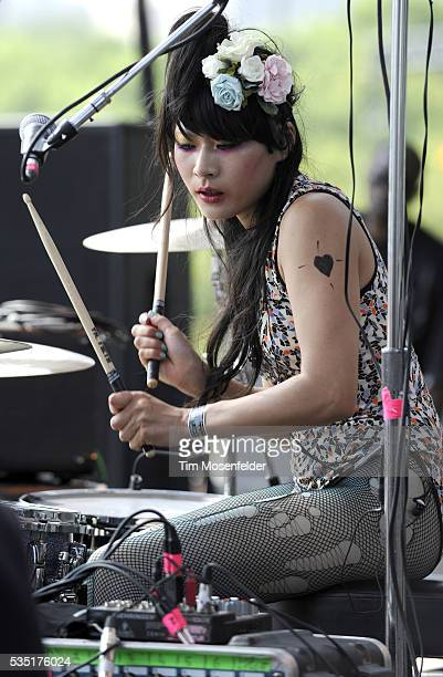 Akiko Matsuura of The Big Pink performs as part of Day One of the Lollapalooza Music Festival at Grant Park in Chicago Illinois