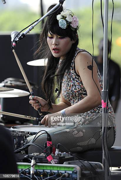 Akiko Matsuura of The Big Pink performs as part of Lollapalooza 2010 at Grant Park on August 6 2010 in Chicago Illinois