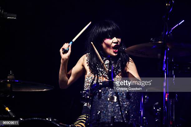 Akiko Matsuura of The Big Pink performs on stage during the Shockwaves NME Awards Tour at Brixton Academy on February 20 2010 in London England