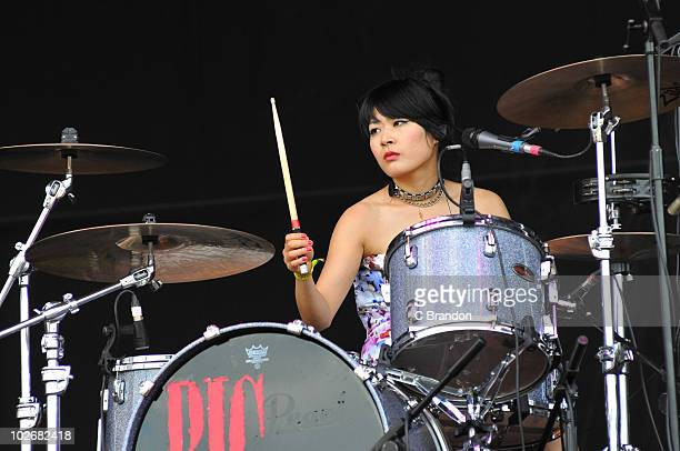 Akiko Matsuura of The Big Pink performs on stage during the second day of the Wireless Festival in Hyde Park on July 3 2010 in London England