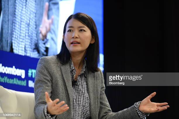 Akiko Naka founder and chief executive officer of Wantedly Inc speaks during the Bloomberg Year Ahead summit in Tokyo Japan on Thursday Dec 6 2018...