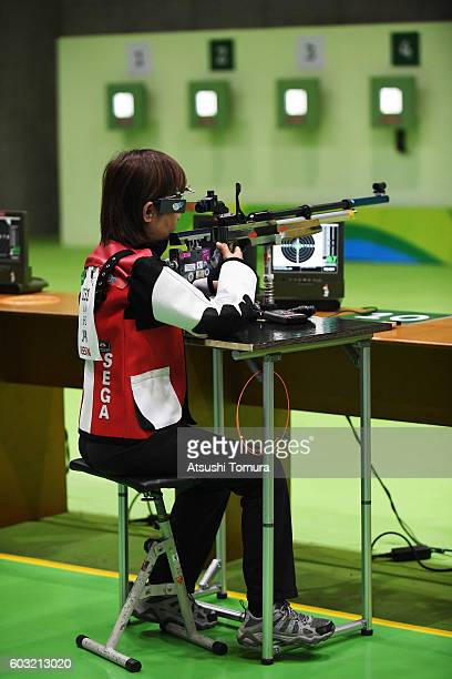 Akiko Sega of Japan competes in the mixed 10m air rifle prone SH2 on day 5 of the Rio 2016 Paralympic Games at Olympic shooting centre on September...