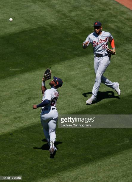 Akil Baddoo of the Detroit Tigers catches a fly ball hit by Sean Murphy of the Oakland Athletics in the bottom of the second inning at RingCentral...