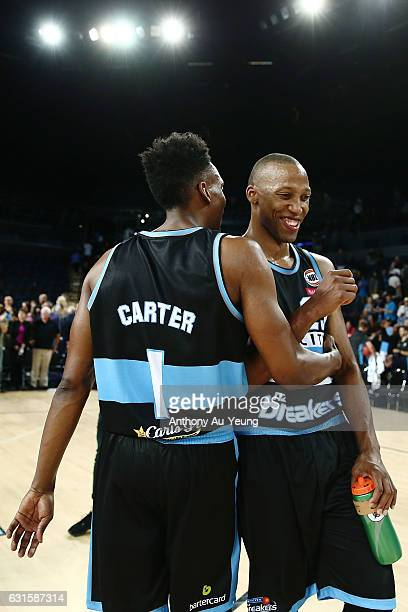 Akil Mitchell and Paul Carter of the Breakers celebrate after winning the round 15 NBL match between the New Zealand Breakers and the Sydney Kings at...