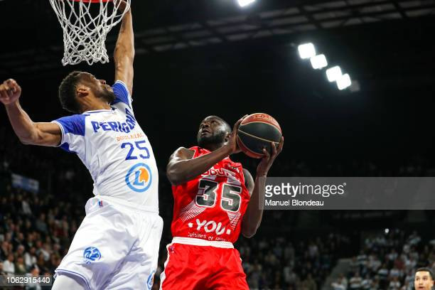 Akil Mitchell of Boulazac and Youssoupha Ndoye of Bourg en Bresse during the Jeep Elite match between Boulazac Basket Dordogne v JL Bourg en Bresse...