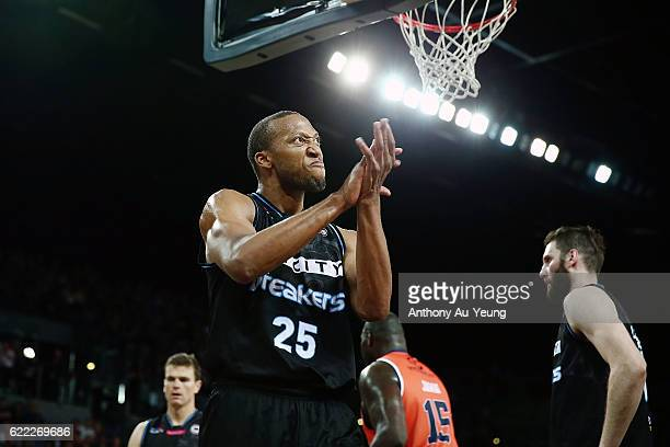 Akil Mitchell of the Breakers celebrates during the round six NBL match between the New Zealand Breakers and the Cairns Taipans at Vector Arena on...