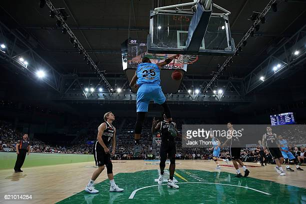 Akil Mitchell of the Breakers dunks the ball during the round five NBL match between Melbourne United and the New Zealand Breakers on November 4 2016...
