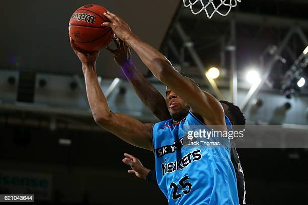 Akil Mitchell of the Breakers rebounds the ball during the round five NBL match between Melbourne United and the New Zealand Breakers on November 4...