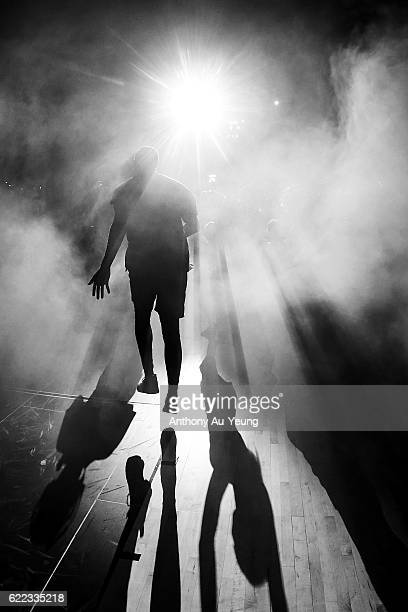 Akil Mitchell of the Breakers runs out during the players introduction during the round six NBL match between the New Zealand Breakers and the Cairns...