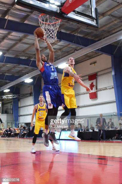 Akil Mitchell of the Long Island Nets dunks the ball during the game against the South Bay Lakers at the NBA G League Showcase Game 11 on January 11...