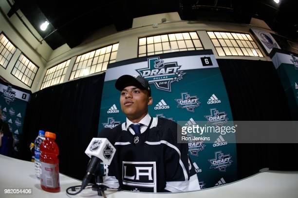 Akil Thomas answers questions from the media after being selected 51st overall by the Los Angeles Kings during the 2018 NHL Draft at American...