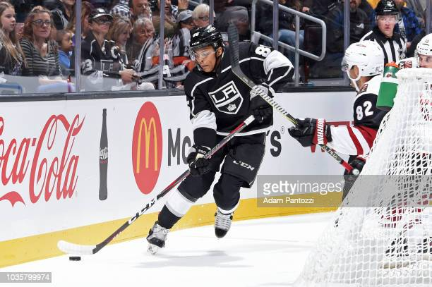 Akil Thomas handles the puck during a preseason game against the Arizona Coyotes at STAPLES Center on September 18 2018 in Los Angeles California