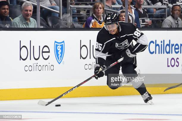 Akil Thomas of the Los Angeles Kings handles the puck during a preseason game against the Arizona Coyotes at STAPLES Center on September 18 2018 in...
