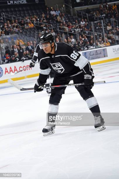 Akil Thomas of the Los Angeles Kings looks on during a preseason game against the Arizona Coyotes at STAPLES Center on September 18 2018 in Los...