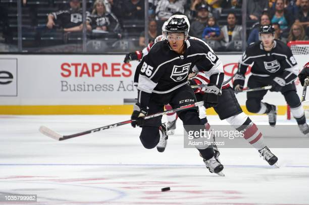 Akil Thomas of the Los Angeles Kings skates after the puck during a preseason game against the Arizona Coyotes at STAPLES Center on September 18 2018...