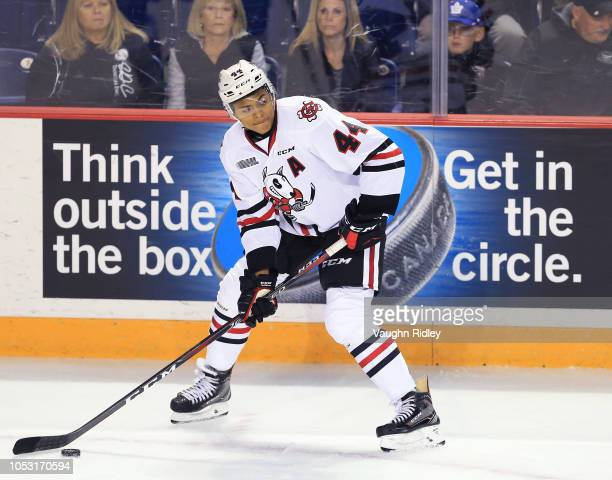 Akil Thomas of the Niagara IceDogs skates during an OHL game against the Sudbury Wolves at Meridian Centre on October 4 2018 in St Catharines Canada