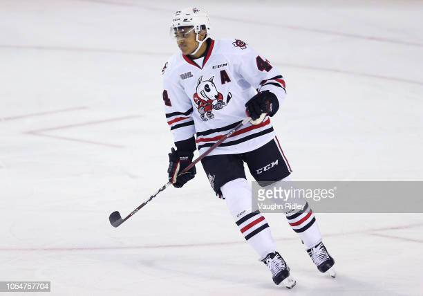 Akil Thomas of the Niagara IceDogs skates during an OHL game against the Barrie Colts at Meridian Centre on October 11 2018 in St Catharines Canada