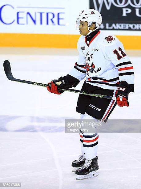 Akil Thomas of the Niagara IceDogs skates during an OHL game against the Ottawa 67's at the Meridian Centre on November 18 2016 in St Catharines...