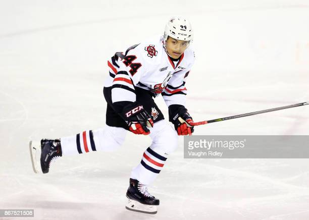 Akil Thomas of the Niagara IceDogs skates during an OHL game against the Oshawa Generals at the Meridian Centre on October 26 2017 in St Catharines...