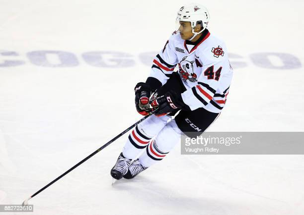 Akil Thomas of the Niagara IceDogs skates during an OHL game against the Ottawa 67's at the Meridian Centre on November 24 2017 in St Catharines...