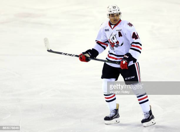 Akil Thomas of the Niagara IceDogs skates during an OHL game against the Mississauga Steelheads at the Meridian Centre on November 25 2017 in St...
