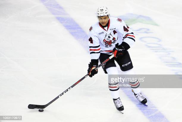 Akil Thomas of the Niagara IceDogs skates with the puck during an OHL game against the Sudbury Wolves at Meridian Centre on October 4 2018 in St...