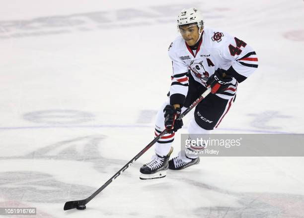 Akil Thomas of the Niagara IceDogs skates with the puck during the first period of an OHL game against the Barrie Colts at Meridian Centre on October...