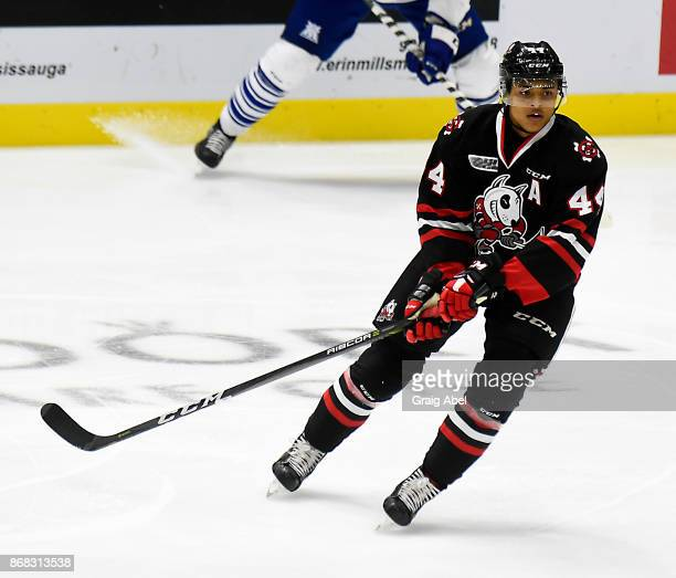 Akil Thomas of the Niagara IceDogs turns up ice against the Mississauga Steelheads during game action on October 29 2017 at Hershey Centre in...