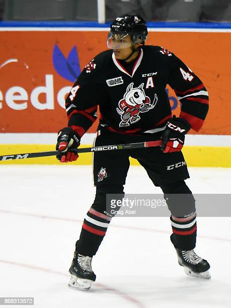 Akil Thomas of the Niagara IceDogs watches the play develop against the Mississauga Steelheads during game action on October 29 2017 at Hershey...