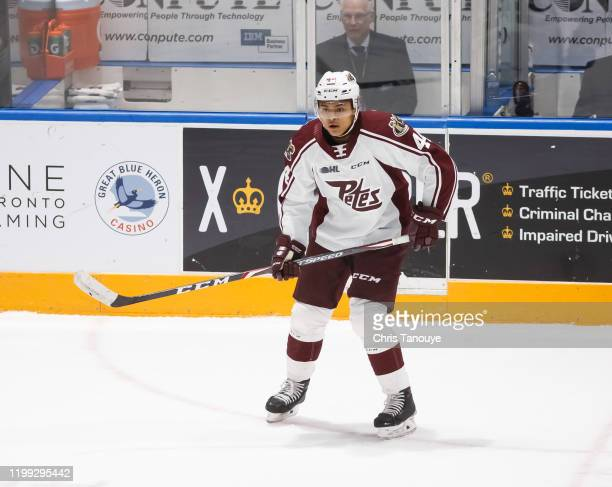 Akil Thomas of the Peterborough Petes skates during an OHL game against the Oshawa Generals at the Tribute Communities Centre on January 12, 2020 in...