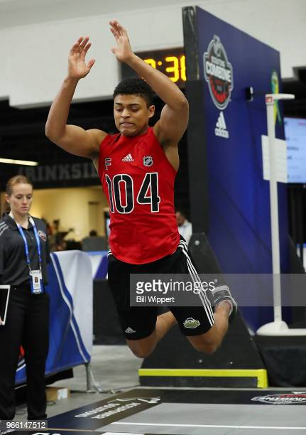 Akil Thomas performs the standing long jump during the NHL Scouting Combine on June 2 2018 at HarborCenter in Buffalo New York