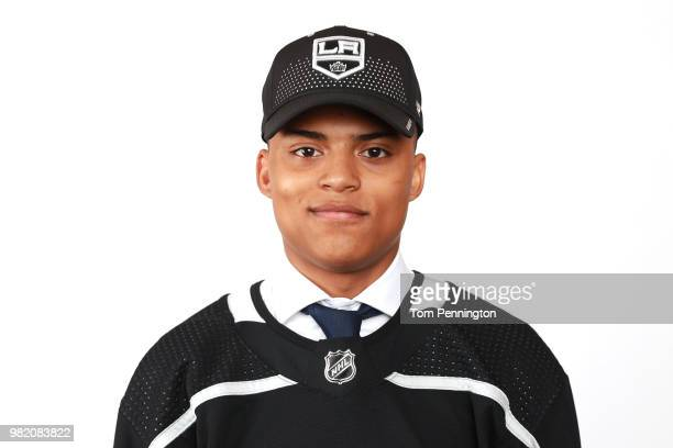 Akil Thomas poses after being selected 51st overall by the Los Angeles Kings during the 2018 NHL Draft at American Airlines Center on June 23 2018 in...