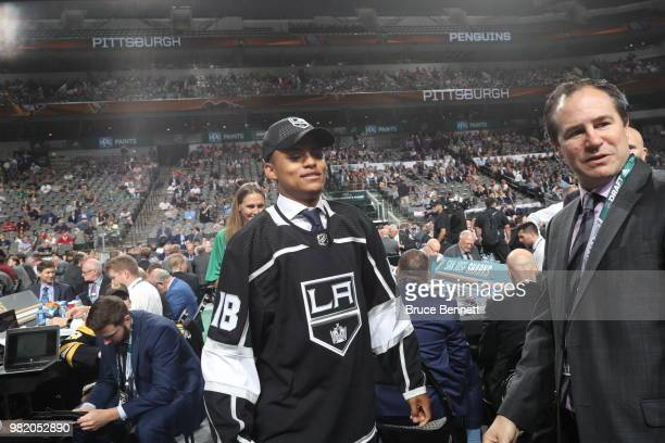 Akil Thomas reacts after being selected 51st overall by the Los Angeles Kings during the 2018 NHL Draft at American Airlines Center on June 23 2018...