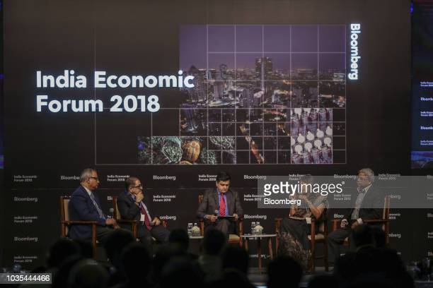 Akila Agrawal partner at Cyril Amarchand Mangaldas second right speaks during a panel discussion with Vinayak Bahuguna chief executive officer of...