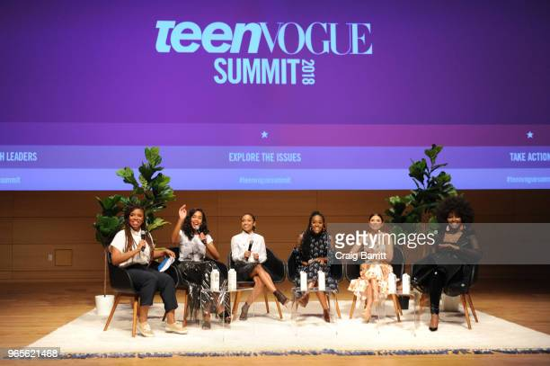 Akilah Hughes Laura Harrier Logan Browning Logan Browning Diane Guerrero and Amara La Negra speak onstage during the Teen Vogue Summit 2018 #TurnUp...