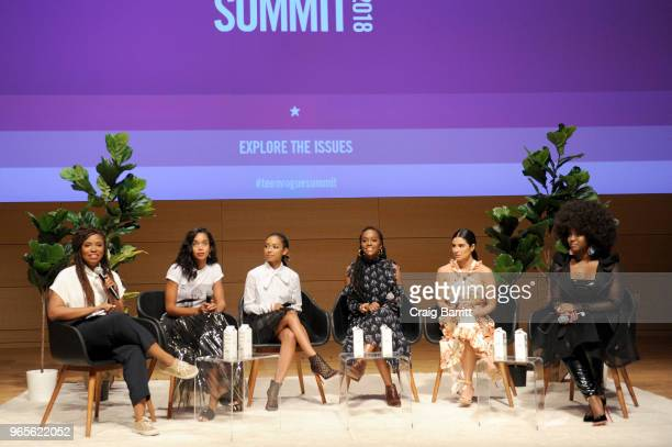 Akilah Hughes Laura Harrier Logan Browning Logan Browning Diane Guerrero and Amara La Negra speak onstage during the Teen Vogue Summit 2018 #TurnUp...